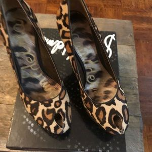 Sam Edelman Leopard Brahma Heels 8.5